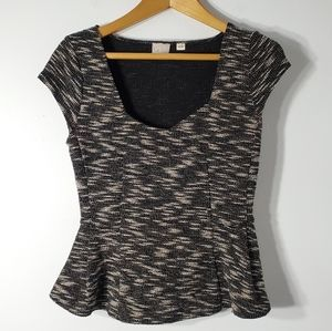 Anthro Postage Stamp Tweed Peplum Top